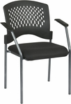 Pro-Line II Titanium Finish Visitors Stack Chair with Arms and Plastic Wrap Around Back - Black [8610-OS]