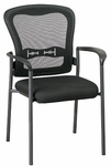 Pro-Line II Titanium Finish Padded Visitors Stack Chair with Arms and ProGrid® Back - Black [84510-OS]