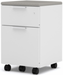 Pro-Linea Assembled Mobile Pedestal with Locking Drawers - White [120640-1117-FS-BS]