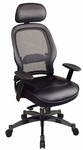 Space Professional Breathable Mesh Back and Leather Seat Managers Chair with Headrest [27008-FS-OS]