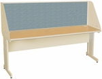 Pronto® 72'' W x 30'' D School Training Table with Carrel and Modesty Panel Back - Putty Finish with Slate Fabric [PRCM0043-UT8568-FS-MVL]