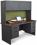 Pronto® 60'' W Solid Steel Double Pedestal Credenza with Flipper Doors - Dark Neutral Frame with Mahogany Top with Peridot Fabric [PRNT8-FS-MVL]