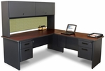 Pronto® Solid Steel Double Pedestal Desk with Return and Flipper Doors - Dark Neutral Frame with Mahogany Top with Peridot Fabric [PRNT6-FS-MVL]