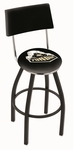 Purdue University 25'' Black Wrinkle Finish Swivel Counter Height Stool with Cushioned Back [L8B425PURDUE-FS-HOB]