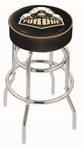 Purdue University 25'' Chrome Finish Double Ring Swivel Backless Counter Height Stool with 4'' Thick Seat [L7C125PURDUE-FS-HOB]