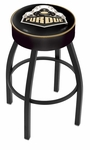 Purdue University 25'' Black Wrinkle Finish Swivel Backless Counter Height Stool with 4'' Thick Seat [L8B125PURDUE-FS-HOB]