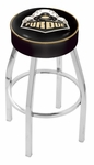 Purdue University 25'' Chrome Finish Swivel Backless Counter Height Stool with 4'' Thick Seat [L8C125PURDUE-FS-HOB]