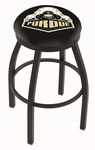 Purdue University 25'' Black Wrinkle Finish Swivel Backless Counter Height Stool with Accent Ring [L8B2B25PURDUE-FS-HOB]