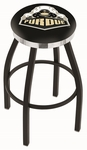 Purdue University 25'' Black Wrinkle Finish Swivel Backless Counter Height Stool with Chrome Accent Ring [L8B2C25PURDUE-FS-HOB]