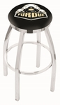 Purdue University 25'' Chrome Finish Swivel Backless Counter Height Stool with Accent Ring [L8C2C25PURDUE-FS-HOB]