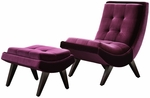 Purple Velvet Tufted Occasional Chair & Ottoman [876S350S-3A-FS-HOM]