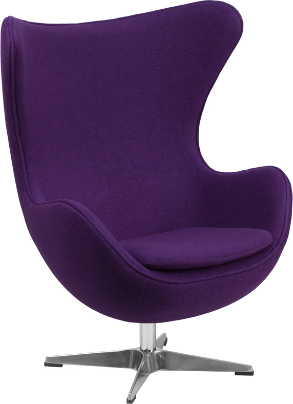 purple wool fabric egg chair with tilt lock mechanism zb. Black Bedroom Furniture Sets. Home Design Ideas