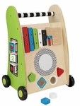 Early Childhood Development Wooden Push Along Play Cart with Xylophone and Shape Sorter [63246-FS-KK]