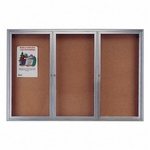 Quartet 6' x 3' Enclosed Indoor Satin Finished Anodized Aluminum Frame 3 -Door Bulletin Board [QRT2366-FS-SP]