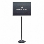 Quartet Message Board withStand - Magnetic - 20'' x 16'' x 45 -62'' - GY [QRT7920M-FS-SP]