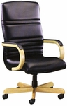 1200 Series Executive Swivel Chair with Wood Arms and Upholstered Arm Cap [1241-FS-HPF]