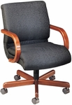 Quick Ship 1200 Series Management Swivel Chair with Wood Arms [1217-FS-HPF]