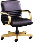 Quick Ship 1200 Series Management Swivel Chair with Wood Arms and Upholstered Arm Cap [1247-FS-HPF]