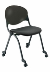 Quick Ship 2000 Series Stacking Multipurpose Steel Frame Polypropylene Chair with Upholstered Seat and Casters - Black [FP2000-SB-P10-QS-IFK]