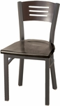 Quick Ship 3300 Series Square Steel Frame Armless Cafe Chair with Contoured Wood Back and Wood Seat - Mahogany [3315B-SB-ST19-QS-IFK]