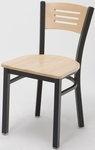 Quick Ship 3300 Series Square Steel Frame Armless Cafe Chair with Contoured Wood Back and Wood Seat - Natural [3315B-SB-ST16-QS-IFK]