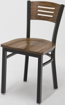 Quick Ship 3300 Series Square Steel Frame Armless Cafe Chair with Contoured Wood Back and Wood Seat - Walnut [3315B-SB-ST08-QS-IFK]