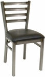 Quick Ship Armless Clear Coated Ladder Back Dining Chair - Black Vinyl Seat [77C-BVS-SAT]