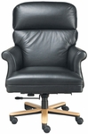 Quick Ship Leader Executive Chair with Fully Upholstered Arms and Wood Base [191W-FS-HPF]