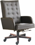 Quick Ship Leader Executive Square-Pattern Stitched Chair with Wood Base [141W-FS-HPF]