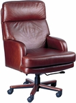 Quick Ship Leader Executive Swivel Chair with Wood Base [121W-FS-HPF]