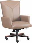 Quick Ship Leader Executive Y Stitch Designed Chair with Wood Base [161W-FS-HPF]