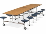 Quick Ship MTS Series Medium Oak Mobile Folding Table with 17''H Navy Stools - Char Black Edge and Chrome Frame - 58''W x 144''D x 29''H [MTS17291212-BLU51-OAK84BLK01-CHRM-VCO]