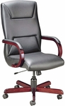 Quick Ship Quick Silver Executive Swivel Chair with Trapezoid Back Stitching [1271-FS-HPF]