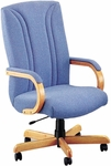 Quick Ship Quick Silver Executive Swivel Chair with Vertical Back Stitching [3271-FS-HPF]