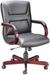 Quick Ship Quick Silver Management Swivel Chair with Trapezoid Back Stitching [1277-FS-HPF]