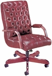 Quick Ship Scoop Traditional Executive Swivel Chair with Padded Arms [4121-FS-HPF]