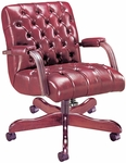 Quick Ship Scoop Traditional Management Swivel Chair with Padded Arms [4127-FS-HPF]