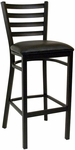Quick Ship Thick Ladder Back Armless Barstool - Black Vinyl Seat [77-BS-BVS-SAT]