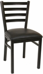 Quick Ship Thick Ladder Back Armless Dining Chair - Black Vinyl Seat [77-BVS-SAT]