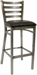 Quick Ship Thick Ladder Back Barstool - Black Vinyl Seat [77C-BS-BVS-SAT]