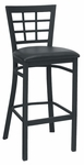 Quick Ship Window Back Metal Barstool - Black Vinyl Seat [85-BS-BVS-SAT]