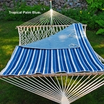 Reversible Quilted Polyester Hammock Pad - Tropical Palm Blue Stripe and Powder Blue Solid [2951135142-FS-ALG]