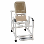 Reclining Shower Chair with Open Front Commode Seat and Folding Foot Rest with Casters - 24''W X 48''H [195-MJM]