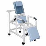 Reclining Shower Chair for Small Adults with Deluxe Elongated Open Front Commode Seat and Casters - 20''W X 15''D X 44''H [193-PED-MJM]