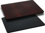Rectangular Restaurant Table Top with Reversible Black or Mahogany <font color = blue><b>Laminate</b></font> Top [BFDH-BKMAHREC-TDR]