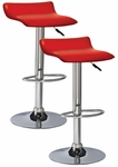 Favorite Finds Height Adjustable Swivel Barstool with Faux Leather Seat - Set of 2 - Red [10042RD-FS-LCK]