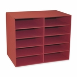 Pacon 10 -Shelf Organizer - 12 -7/8'' x 21'' x 17'' - Shelves 12 -1/2'' x 10'' x 3'' - Red [PAC001314-FS-SP]
