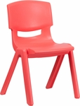 Red Plastic Stackable School Chair with 15.5'' Seat Height [YU-YCX-005-RED-GG]