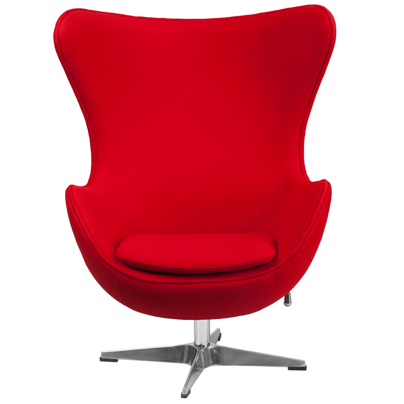Red Wool Fabric Egg Chair With Tilt Lock Mechanism Zb 14