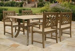 Renaissance 5 Piece Outdoor Dining Set with Saber Leg Table and 4 Herringbone Back Arm Chairs [V1300SET2-FS-VIF]